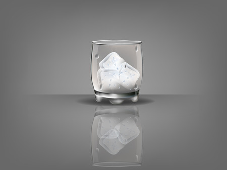 ice cubes: realistic beautiful whiskey glass with ice cubes vector Illustration