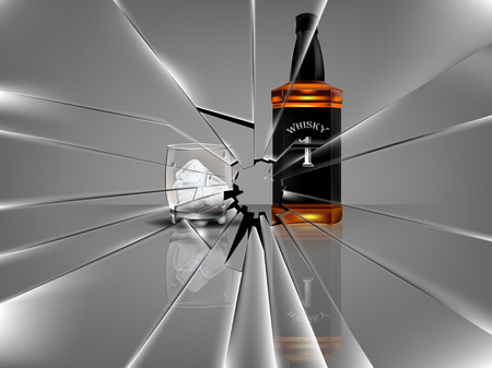 broken window: realistic beautiful whiskey bottle with beautiful glass of whiskey and ice,broken glass scene