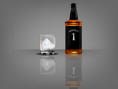 bourbon whisky: realistic beautiful whiskey bottle with beautiful glass of whiskey and ice
