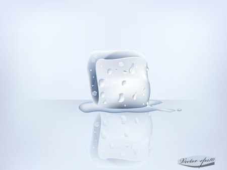 ice cube with transparent water condensation realistic vector Illustration