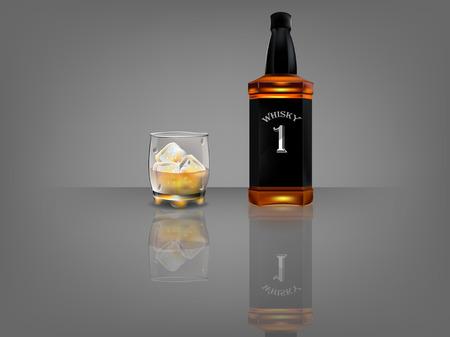 whiskey bottle: realistic beautiful whiskey bottle with beautiful glass of whiskey and ice  on dark background