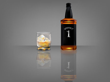 realistic beautiful whiskey bottle with beautiful glass of whiskey and ice  on dark background