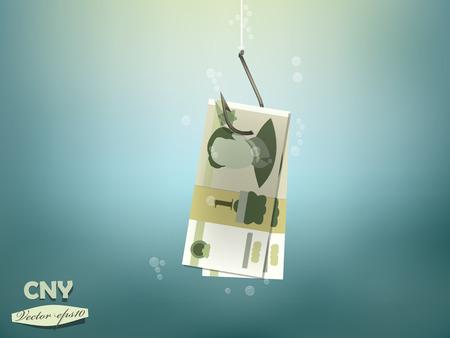 yuan: Money concept illustration, Chinese yuan money paper on fish hook Illustration