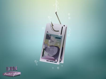 sea mark: Money concept illustration, deutsche mark money paper on fish hook