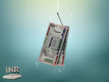 indian fish: Money concept illustration, indian rupee money paper on fish hook