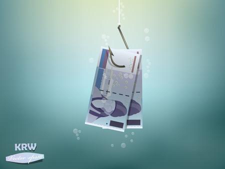 seoul: Money concept illustration, korean won money paper on fish hook Illustration