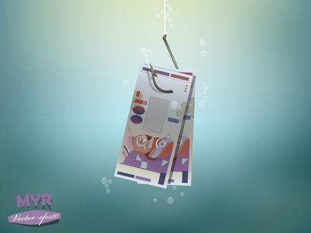 お金の概念図では、マレーシア ・ リンギットの金紙の魚にフックします。  イラスト・ベクター素材
