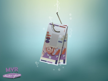 fish hook: Money concept illustration, malaysian ringgit money paper on fish hook