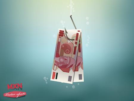 pesos: Money concept illustration, mexican pesos money paper on fish hook