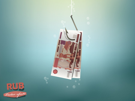 dupe: Money concept illustration, russia ruble money paper on fish hook