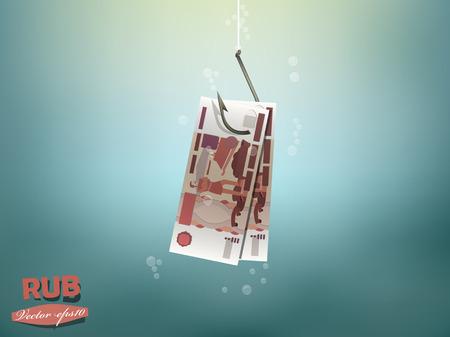 fish hook: Money concept illustration, russia ruble money paper on fish hook