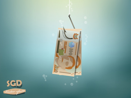 dupe: Money concept illustration, singapore dollars money paper on fish hook