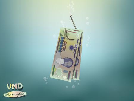 fish hook: Money concept illustration,vietnam dong money paper on fish hook Illustration