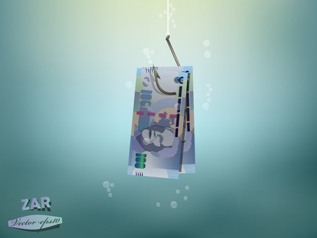 Money concept illustration,south african rand money paper on fish hook