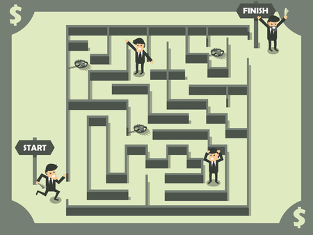 vector of business man finding out the exit of maze, business success concept in dollar color theme 向量圖像