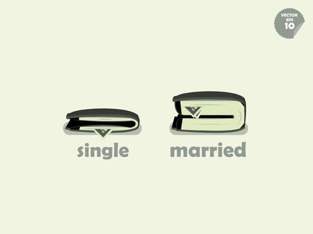 rich couple: wallet money comparison between single and married Illustration