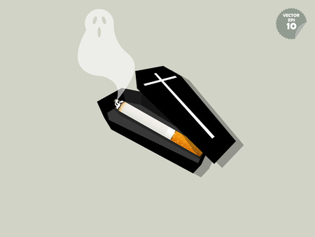 quit smoking: vector of cigarette is inside of coffin and ghost smoke, cigarette effect concept