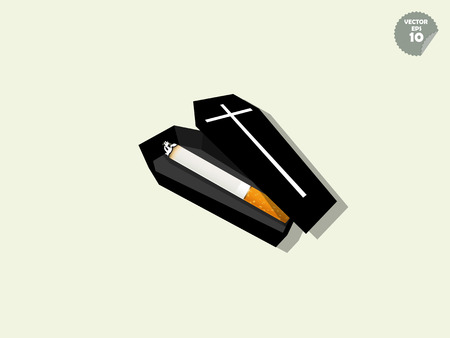 nicotine patch: vector of cigarette is inside of coffin, cigarette effect concept Illustration