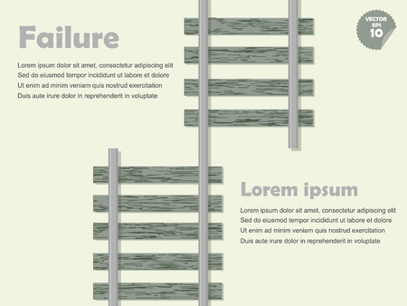 mistake: infographic mistake and failure concept, mistake railway