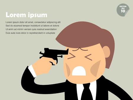 man gun: business man point the gun to his head,commit suicide