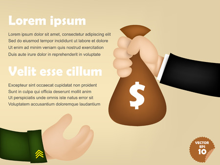 infographic of business man giving money bag to military man, corruption concept