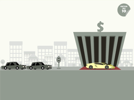 unfairness: VIP concept,comparison between super car and general car when park at the bank Illustration