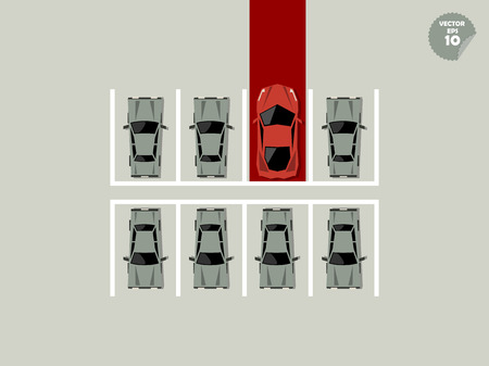 inequality: vip concept, super car parking lot with red carpet Illustration