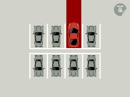 car parking: vip concept, super car parking lot with red carpet Illustration