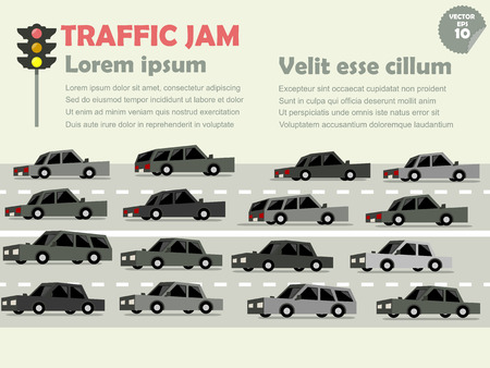 the traffic jam: info graphic of traffic jam, traffic jam concept