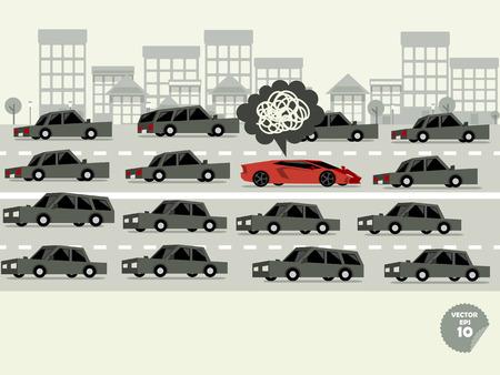 교통 체증 개념, 교통 체증 및 드라이버에 갇혀 슈퍼 자동차 나쁜 기분이다 일러스트