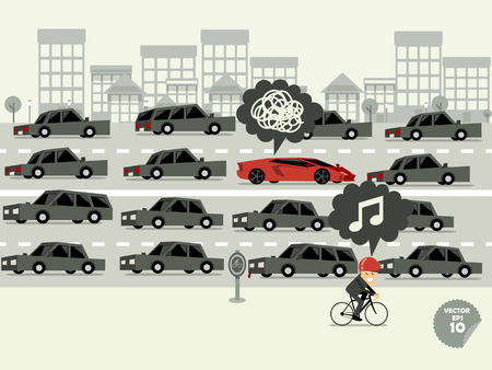 the traffic jam: traffic jam concept,super car stuck in traffic jam and bicycle go faster.