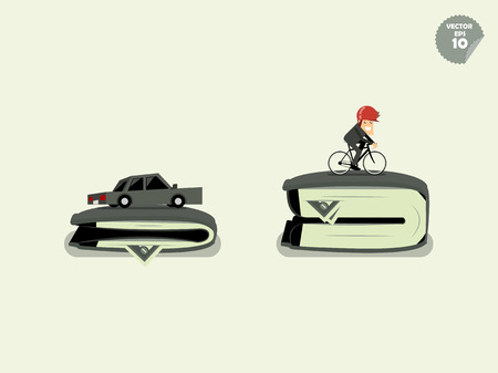jams: comparison cost of transportation between car and bicycle Illustration