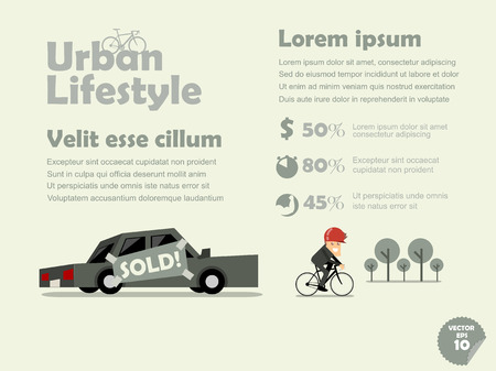 traffic jams: info graphic of urban lifestyle of bicycle transportation, benefit of bicycle concept