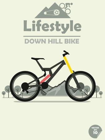 downhill: downhill bike on mountain background Illustration