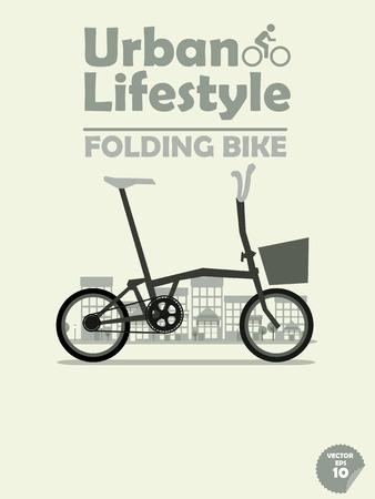 町の背景に折り畳み自転車  イラスト・ベクター素材