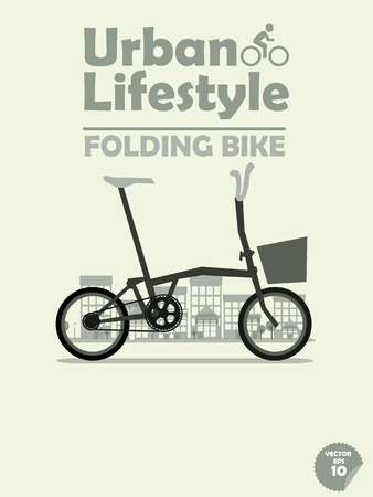 folding bike on town background 向量圖像