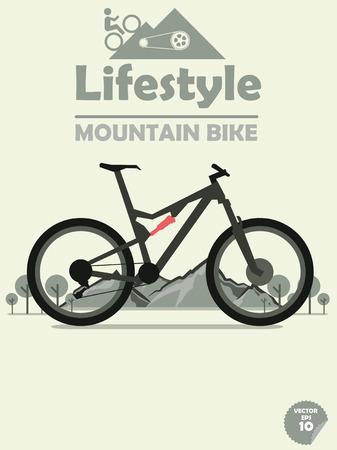 ciclismo: bicicleta de montaña en el fondo de montaña, ciclismo de montaña, deporte al aire libre, cartel bicicleta de montaña