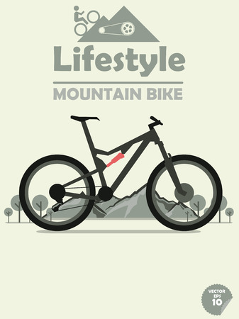mountain bike on mountain background,cycling on mountain,outdoor sport,mountain bike poster Ilustracja