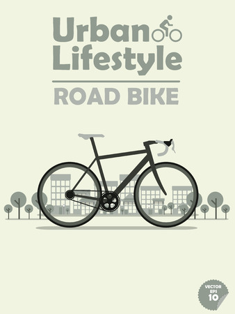road bike: road bike on town background,cycling in town,cycling or commuting in city urban environment,ecological transportation concept,urban transportation lifestyle,road bike poster