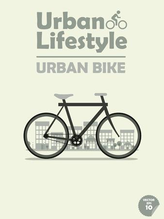 commuting: urban bike on town background,cycling in town,cycling or commuting in city urban environment,ecological transportation concept,urban transportation lifestyle,urban bike poster