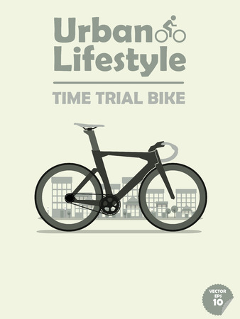 time trial bike on town background Stock Illustratie