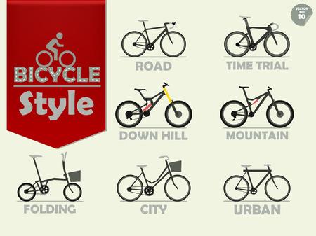 マウンテン バイク、ロードバイク、ダウンヒル バイク、都市の自転車、シティ自転車、タイムトライアル バイク折り畳み自転車から成っている自  イラスト・ベクター素材