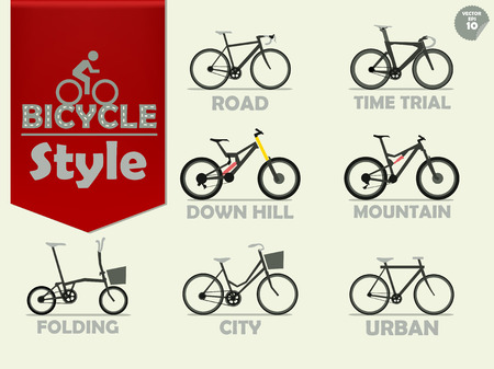 road bike: set of bicycle which consist of mountain bike,road bike,downhill bike,urban bike,city bike,time trial bike and folding bike