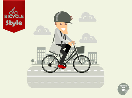 cycling helmet: man with bicycle helmet is cycling city bicycle with town background,city bicycle concept