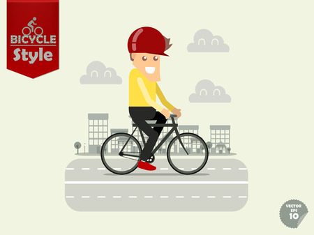 man with bicycle helmet is cycling urban bicycle with town background,urban bicycle concept