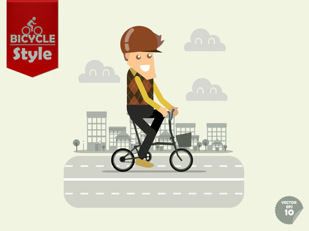 bicycle helmet: man with bicycle helmet is cycling folding bicycle with town background,folding bicycle concept Illustration