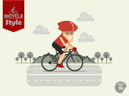 cycling helmet: man with bicycle helmet is cycling road bicycle with mountain and tree background,road bicycle concept Illustration