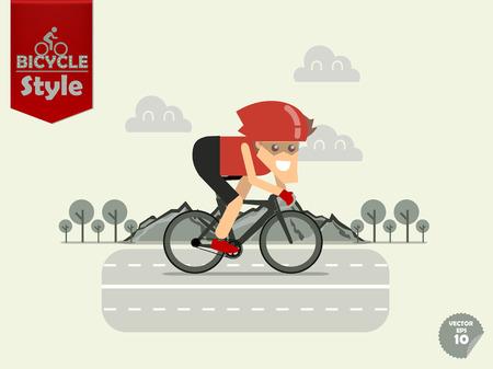 自転車のヘルメットを持つ男が山と木の背景、時間トライアル自転車の概念を持つタイムトライアル バイクをサイクリングします。  イラスト・ベクター素材