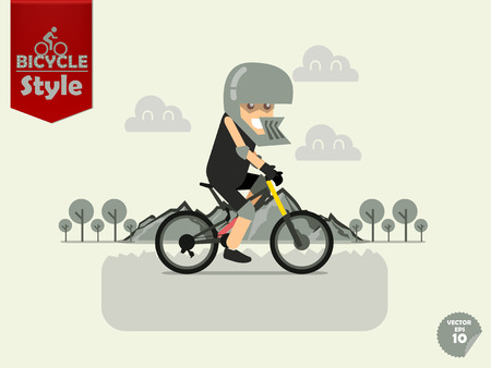 cycling helmet: man with downhill helmet is cycling downhill bicycle with mountain and tree background,downhill bicycle concept