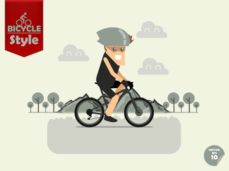 cycling helmet: man with bicycle helmet is cycling mountain bicycle with mountain and tree background,mountain bicycle concept